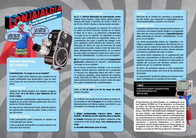 El Ayuntamiento lanza el primer concurso de videos y cortometrajes para usuarios de lonjas en Vitoria-Gasteiz