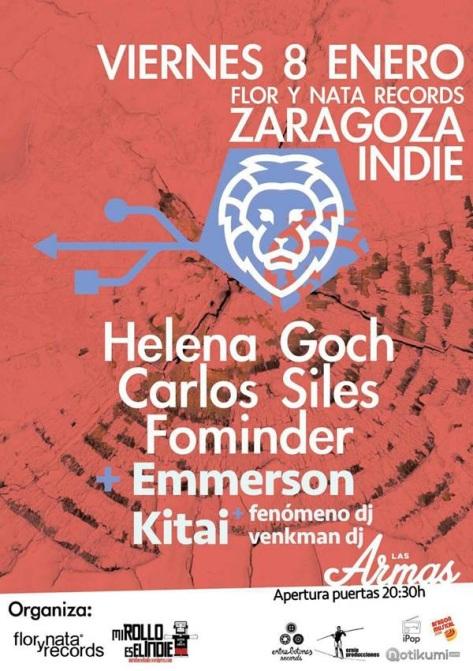 cartel del Zaragoza Indie viernes 8 enero