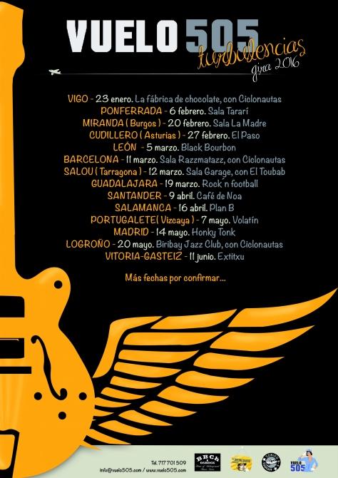nuevas fechas de la gira de presentación de Turbulencias, primer trabajo de la banda de Logroño Vuelo 505