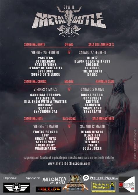 Reparto de Bandas, fechas y Salas para las Semifinales de Metal Battle Spain 2016 2