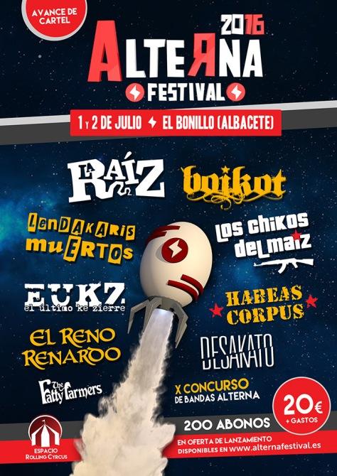 Avance de cartel del Alterna Festival 2016 El 1 y 2 de Julio El Bonillo (Albacete)