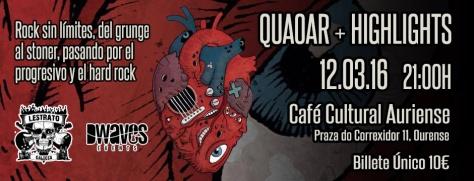 El rock sin límites de QUAOAR y HIGHLIGHTS sonará este sábado en Ourense