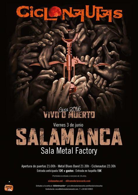nueva fecha del concierto de CICLONAUTAS en Salamanca